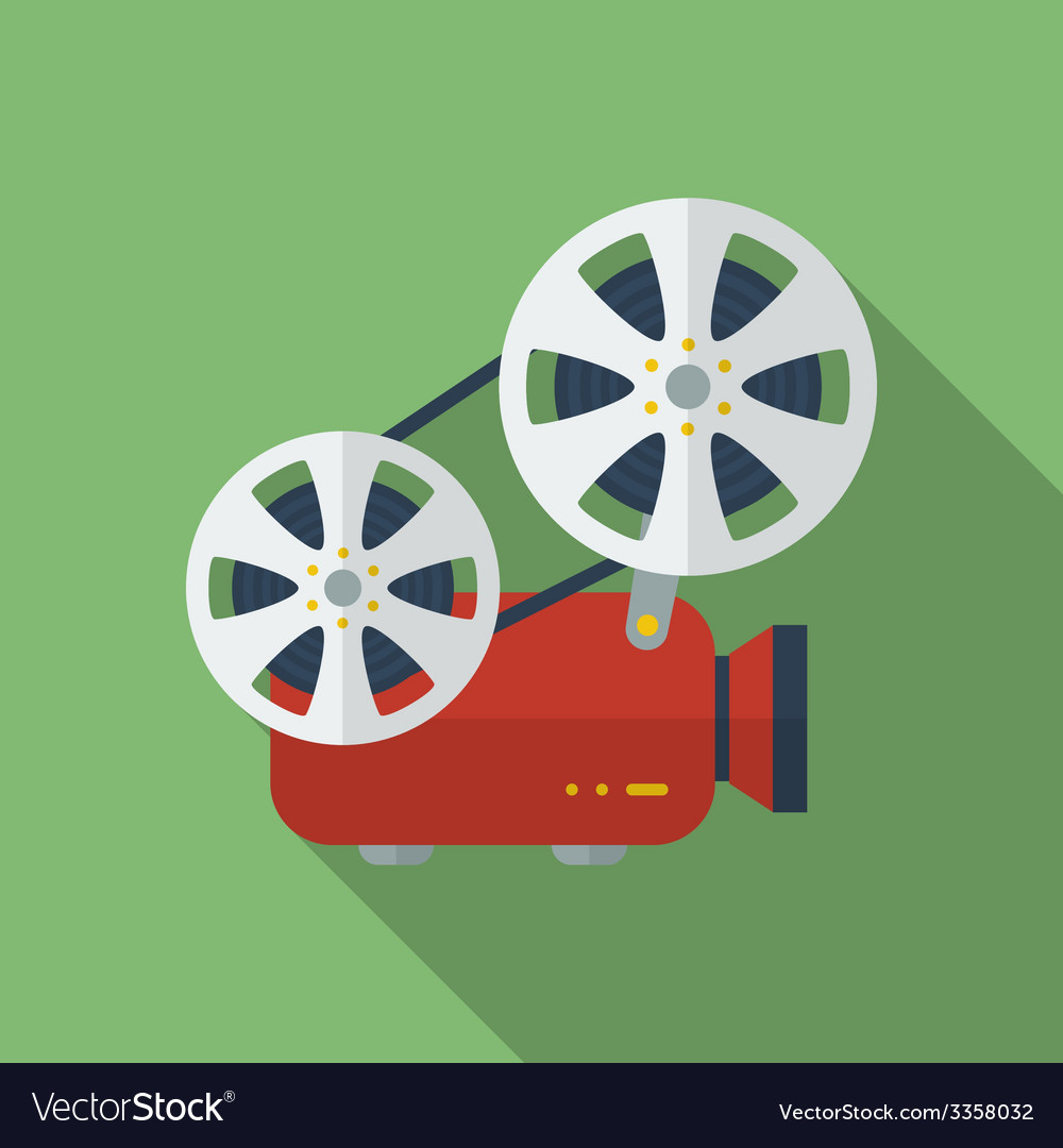 Icon of film projector cinema projector flat style vector | Price: 1 Credit (USD $1)