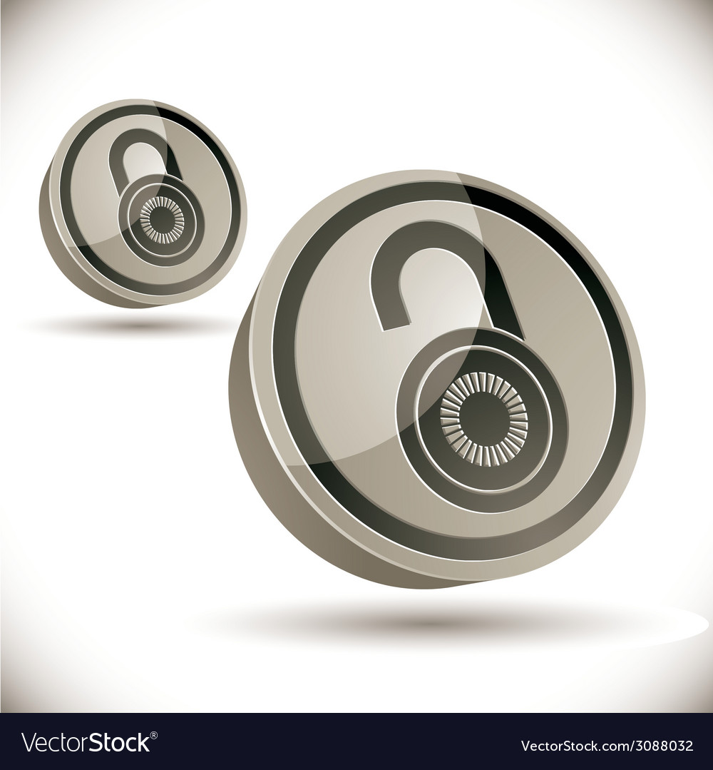 Lock 3d icon isolated on white background vector | Price: 1 Credit (USD $1)