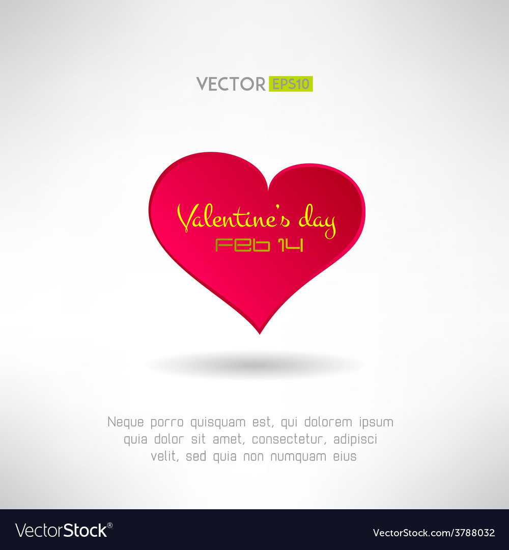 Red heart icon with valentines text and date on it vector | Price: 1 Credit (USD $1)