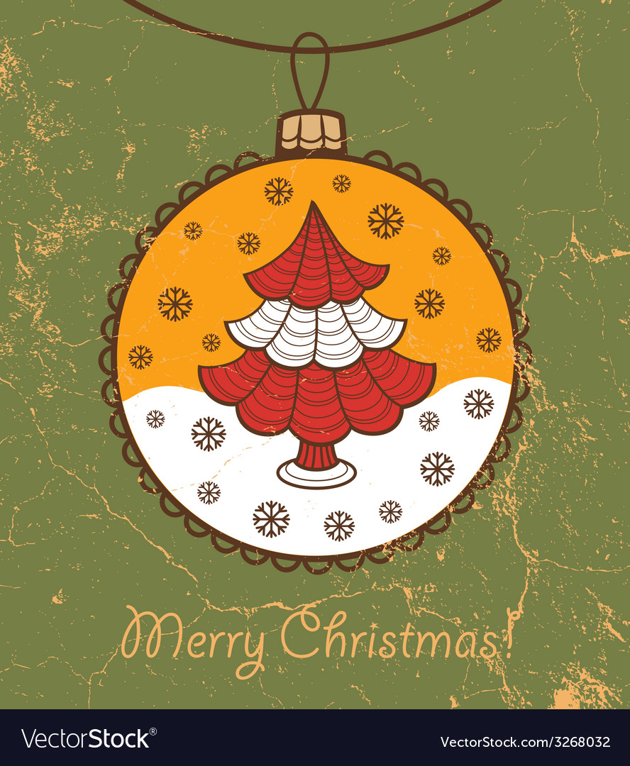 Retro greeting card with glass ball and christmas vector | Price: 1 Credit (USD $1)