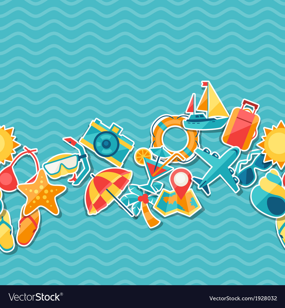 Travel and tourism seamless pattern vector   Price: 1 Credit (USD $1)