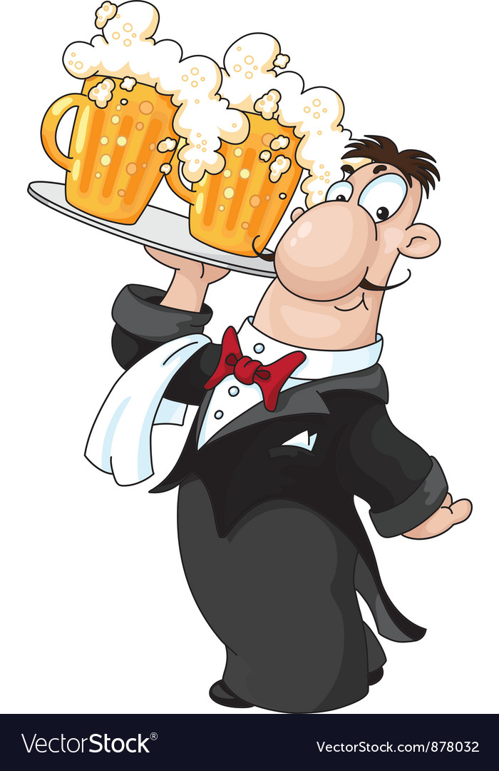 Waiter with beer vector | Price: 3 Credit (USD $3)