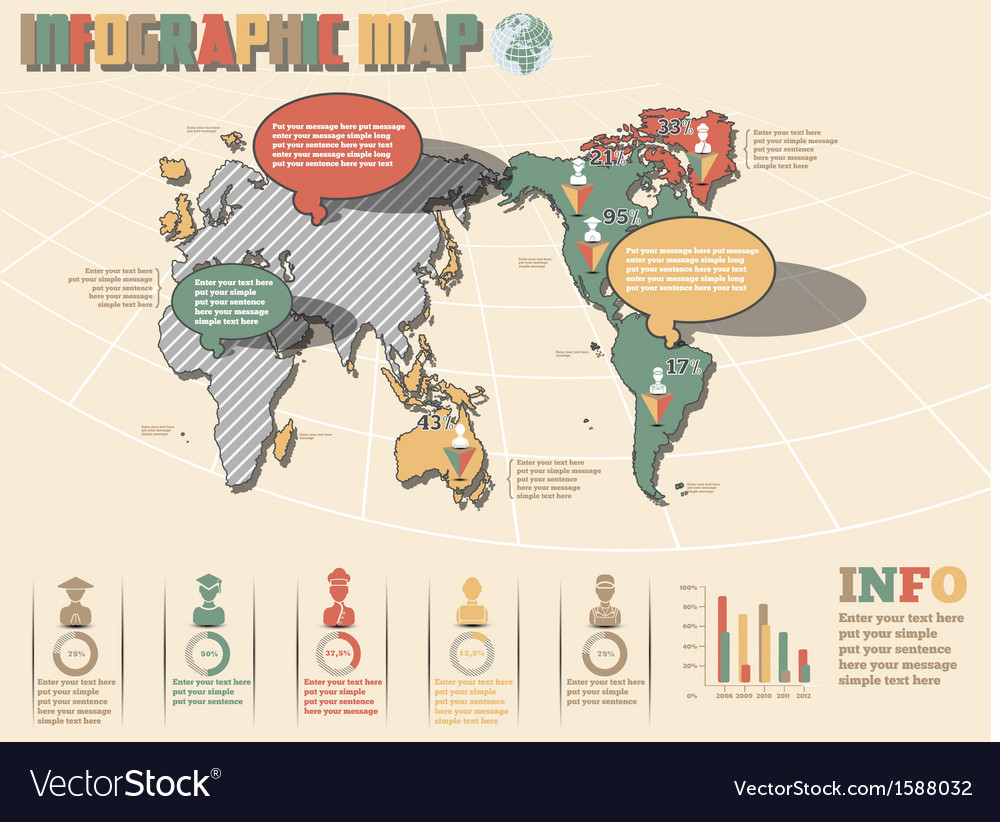 World map infographics 2 new style vector | Price: 1 Credit (USD $1)