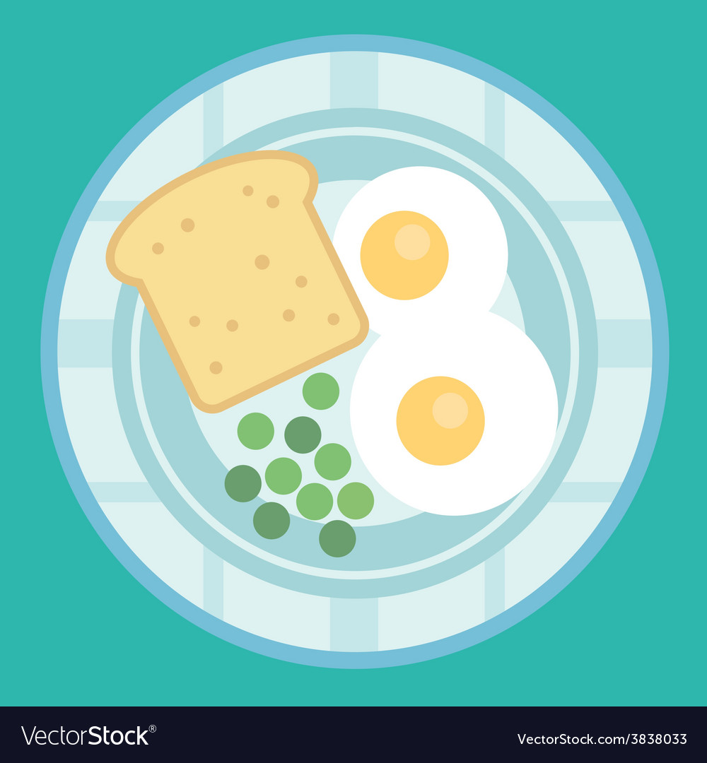 Breakfast poster fried eggs and sausage on pan vector | Price: 1 Credit (USD $1)