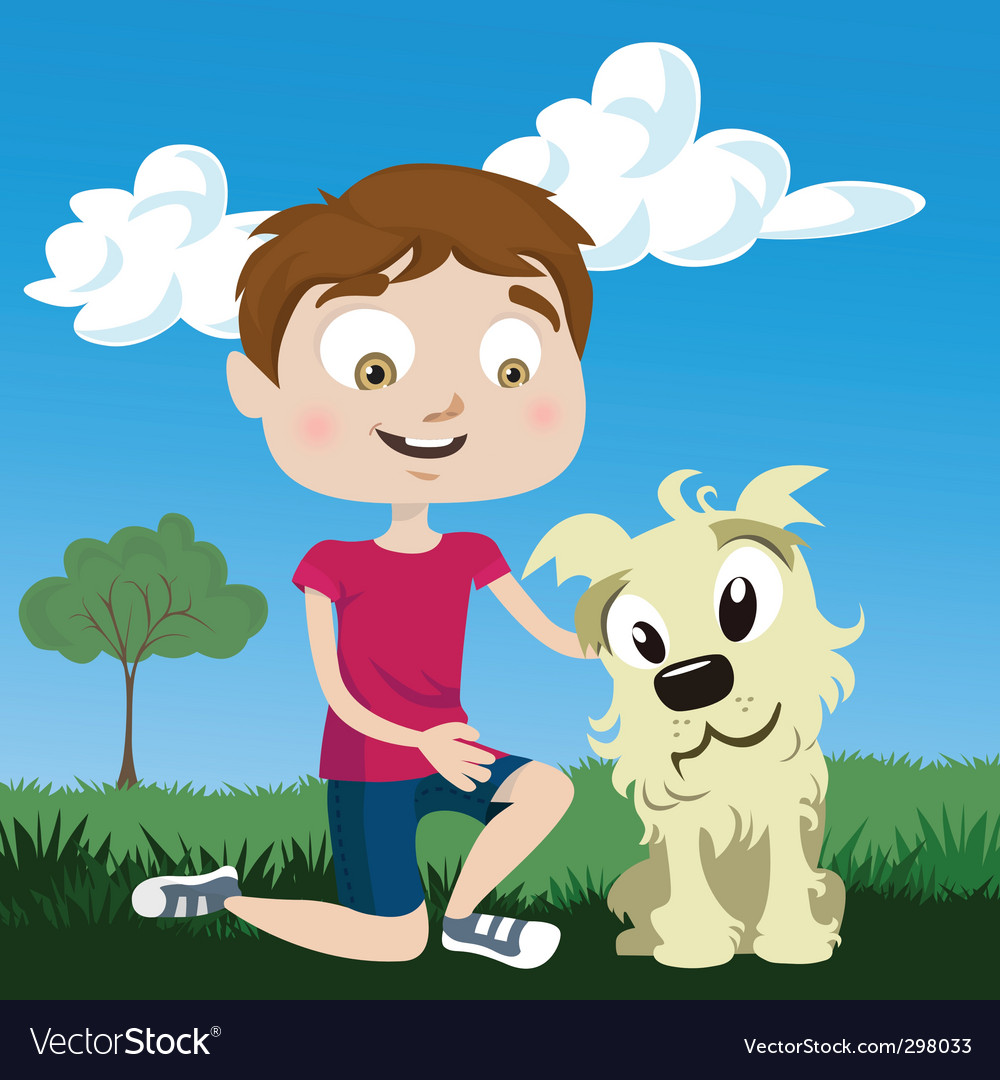Cartoon boy with dog vector | Price: 3 Credit (USD $3)