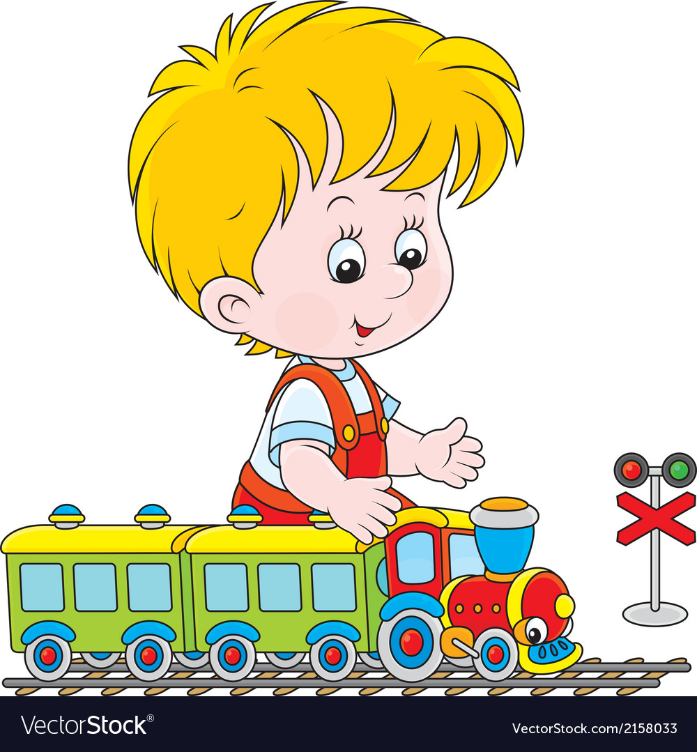 Child playing with a train vector | Price: 1 Credit (USD $1)