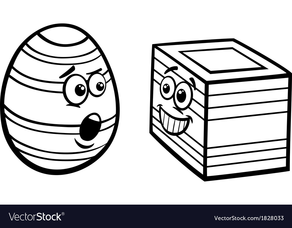 Easter square egg coloring page vector | Price: 1 Credit (USD $1)