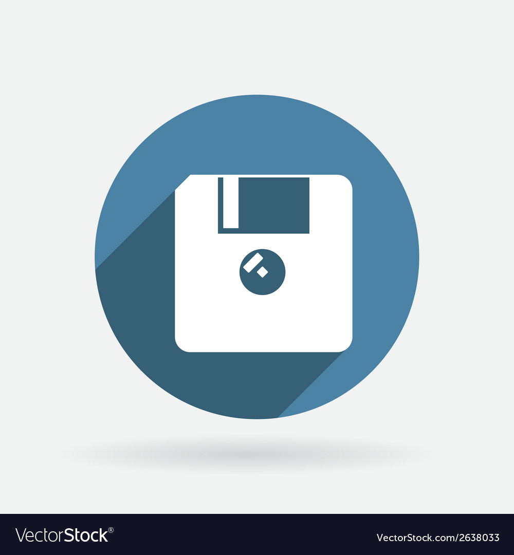 Floppy diskette circle blue icon with shadow vector | Price: 1 Credit (USD $1)