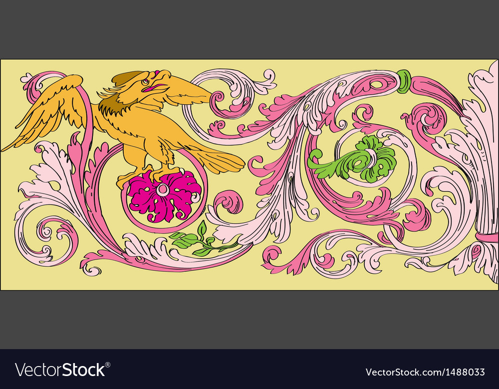 Floral baroque style vector | Price: 1 Credit (USD $1)