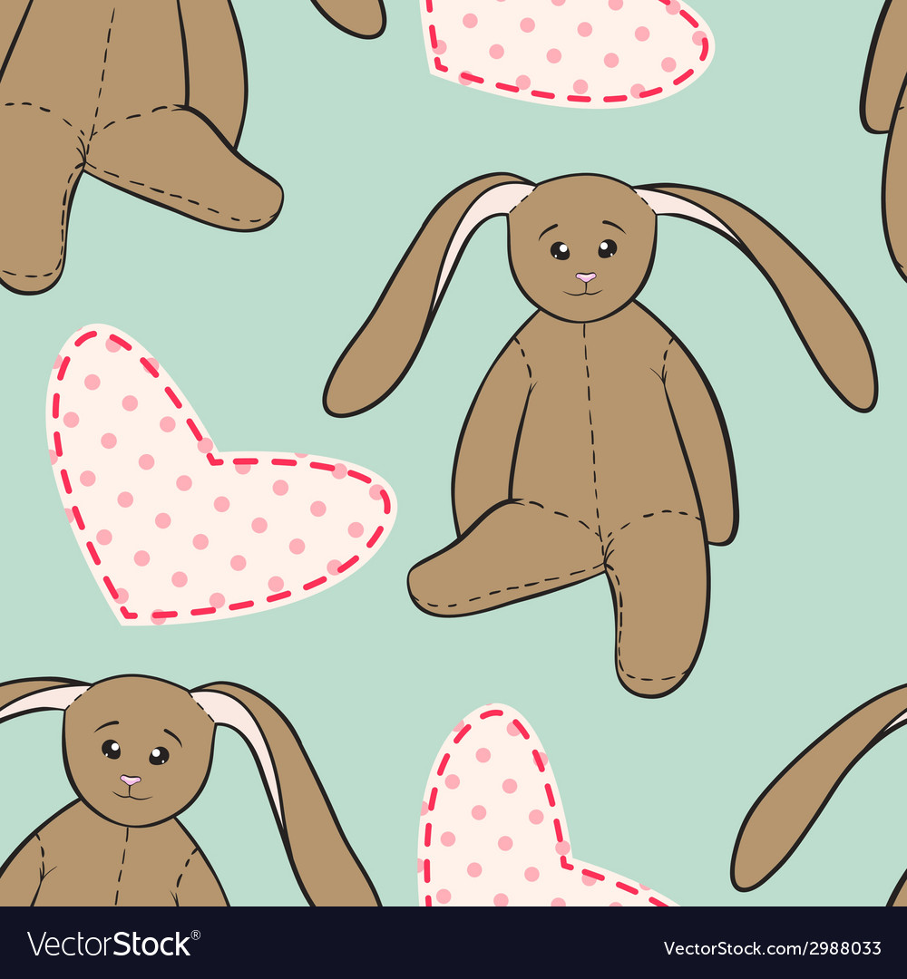 Hand drawing rabbit toys childish seamless pattern vector | Price: 1 Credit (USD $1)