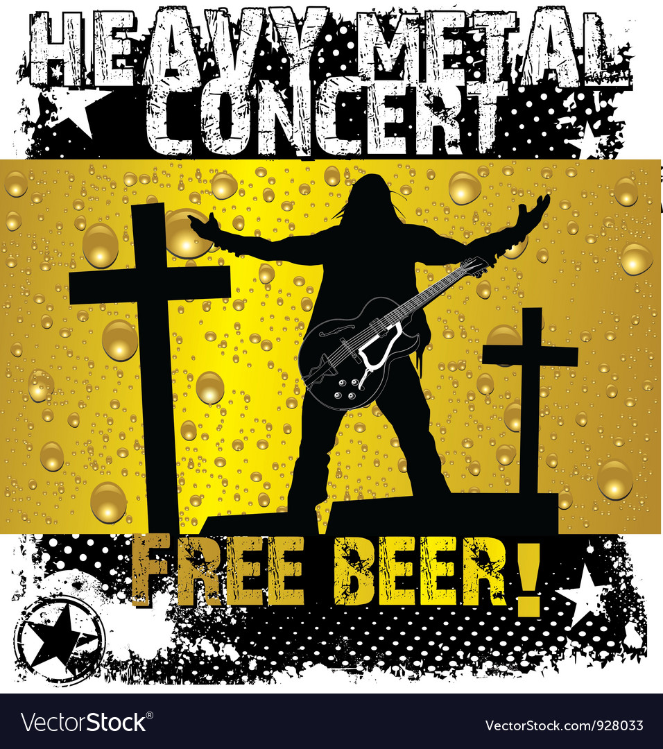 Heavy metal concert - free beer vector | Price: 1 Credit (USD $1)