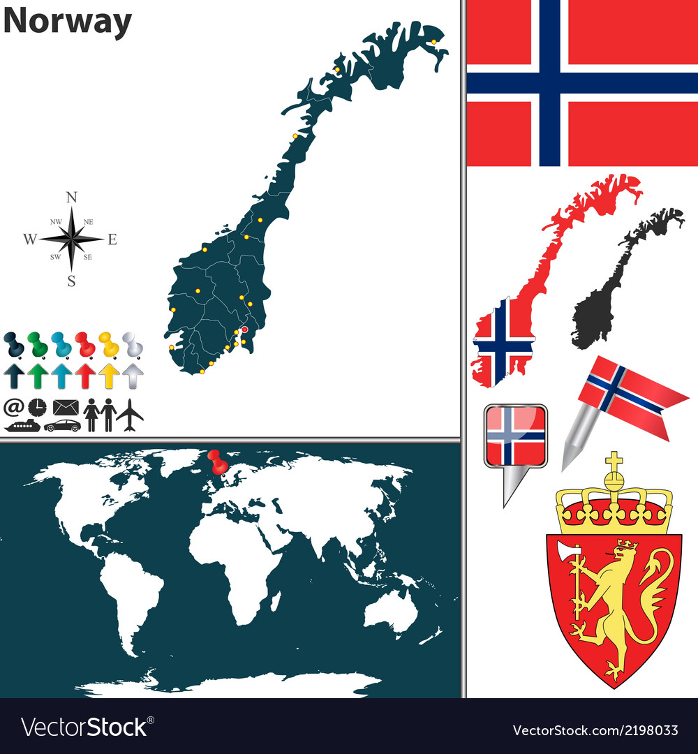 Norway map world vector | Price: 1 Credit (USD $1)