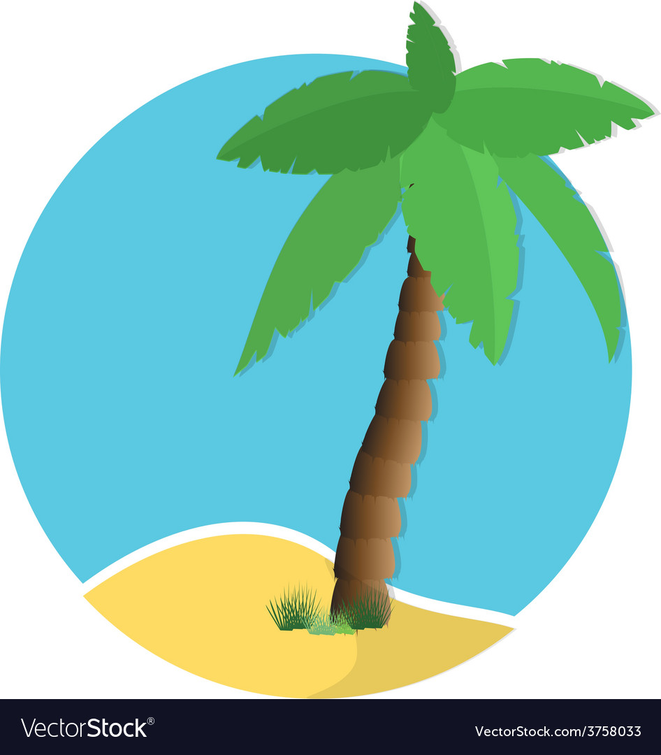 Palm tree on island vector | Price: 1 Credit (USD $1)