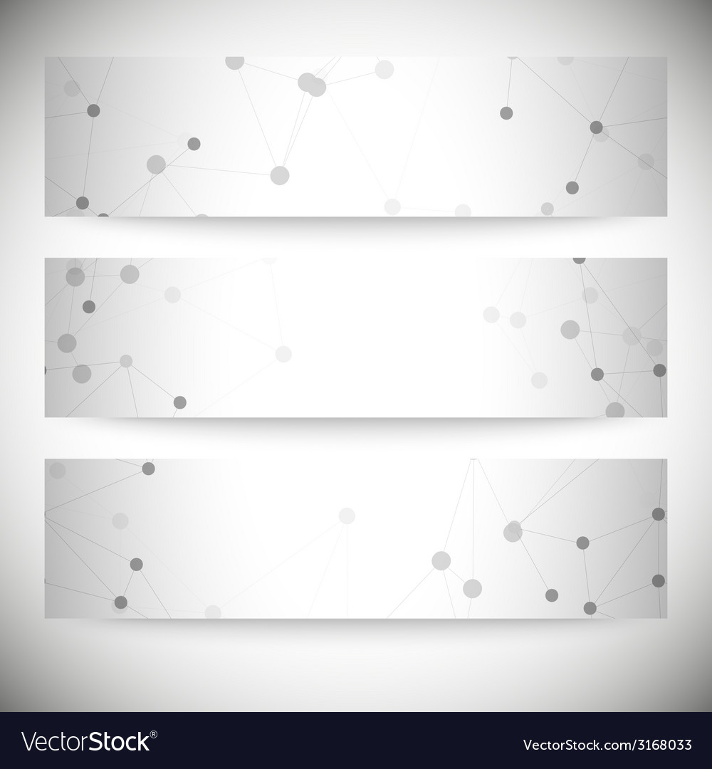 Set of horizontal banners molecule structure gray vector | Price: 1 Credit (USD $1)