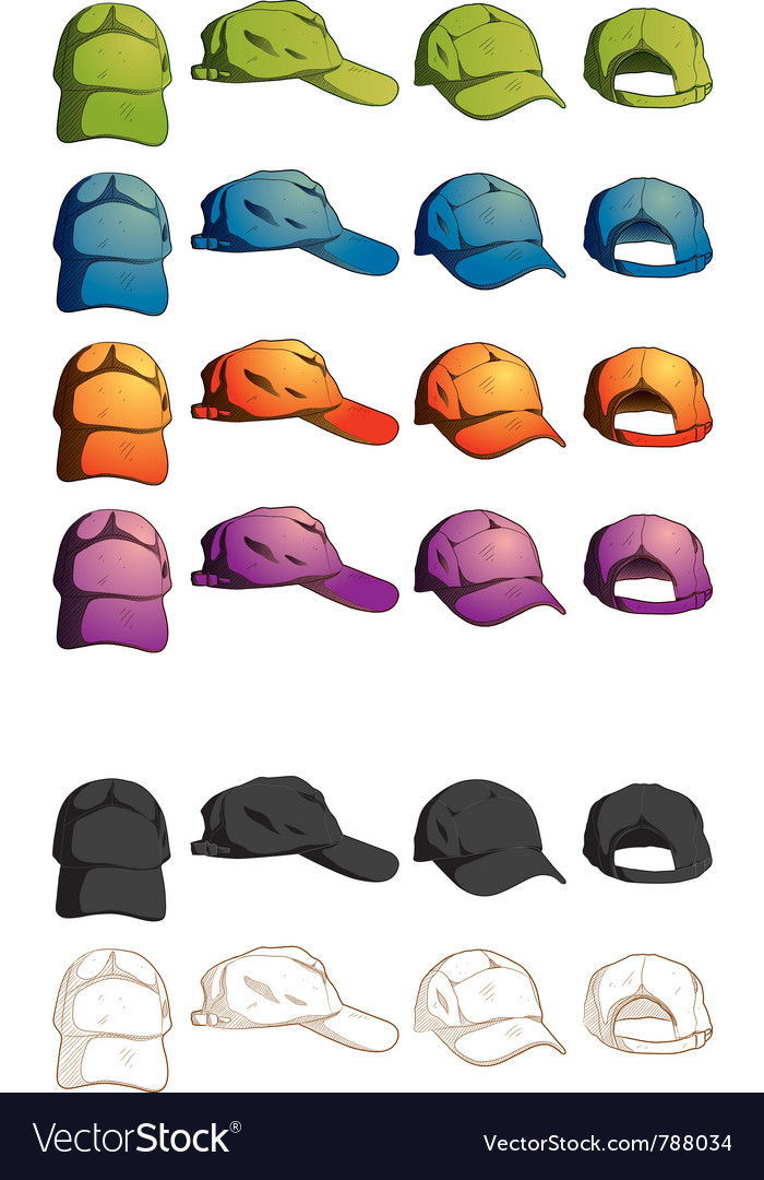 Cap template various angle vector | Price: 3 Credit (USD $3)