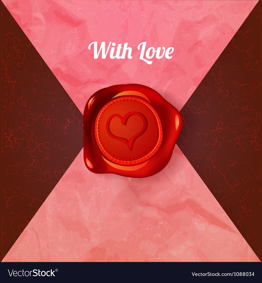 Card with letters and wax seal with heart vector | Price: 1 Credit (USD $1)