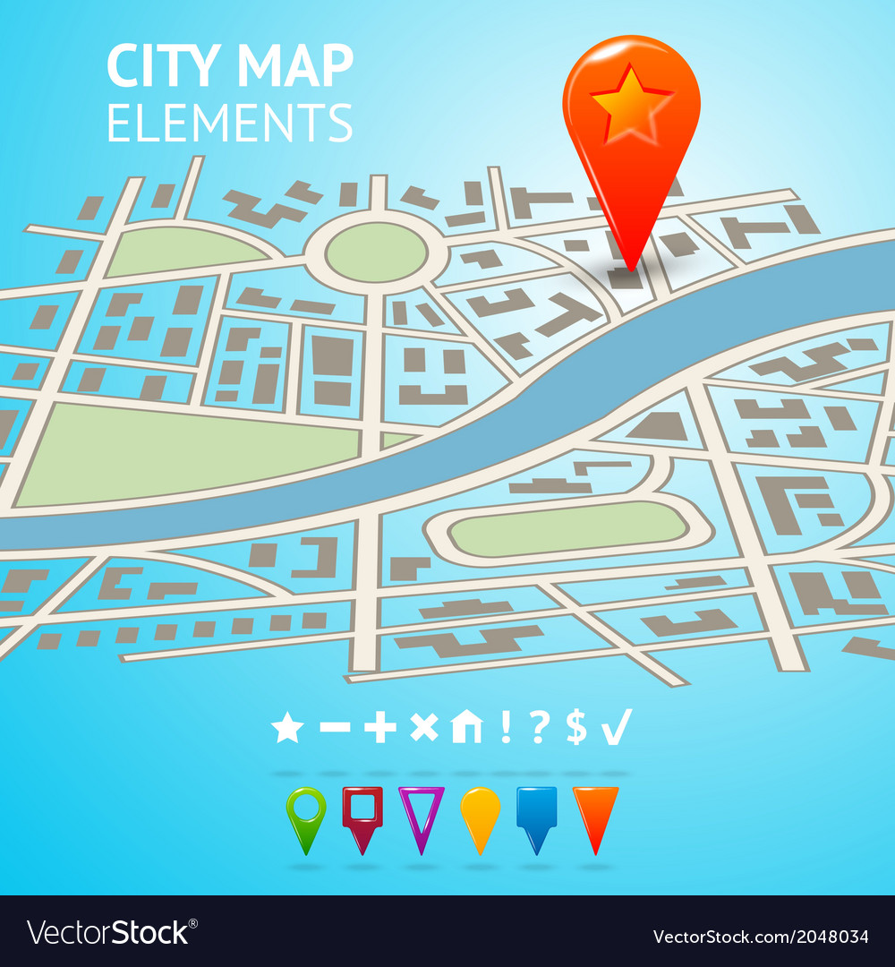 City map with navigation markers vector | Price: 1 Credit (USD $1)