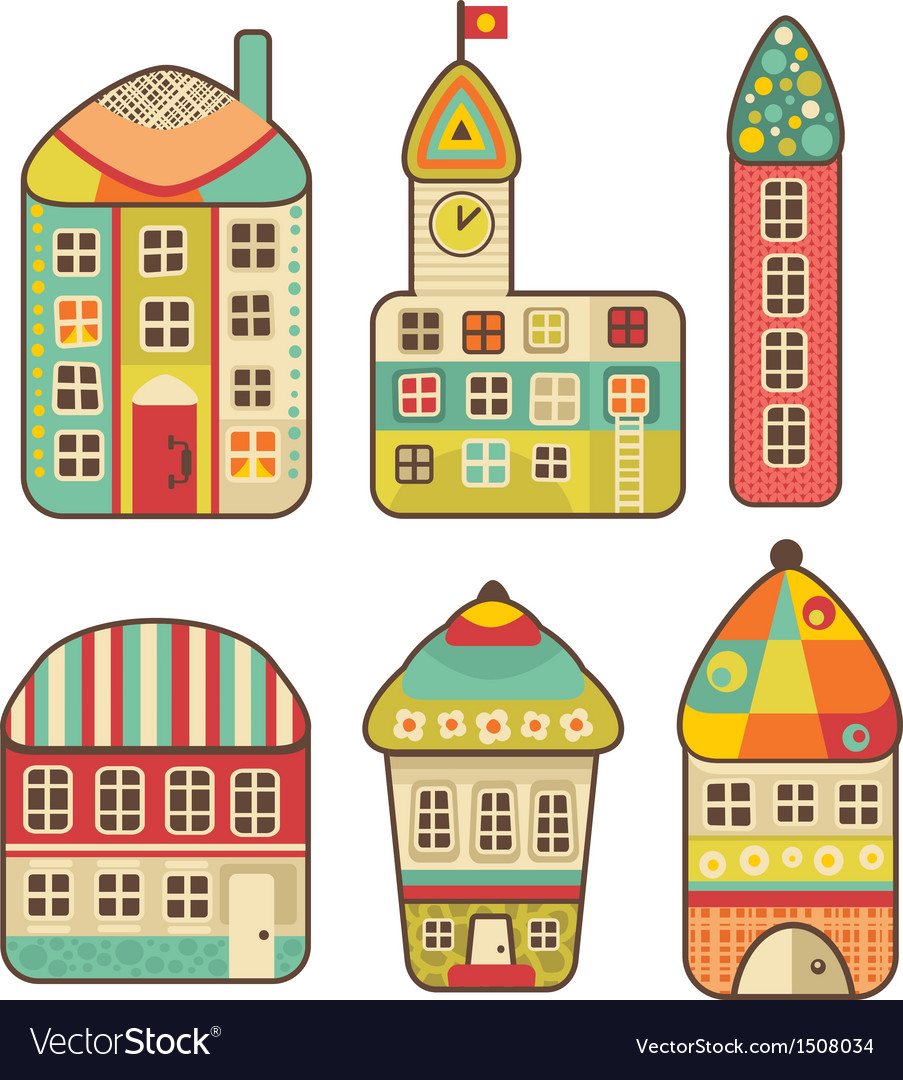 Collection of cute houses vector | Price: 1 Credit (USD $1)