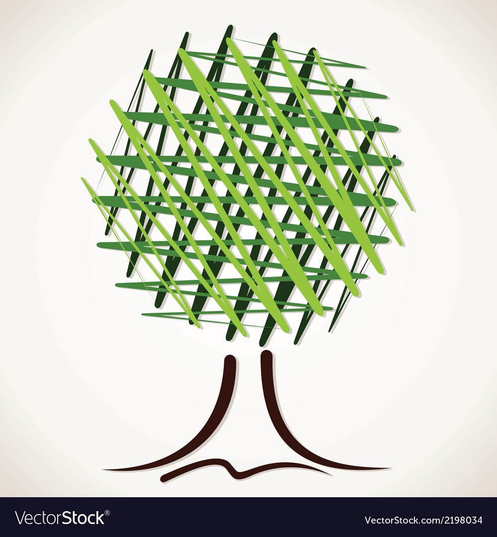Creative sketch green tree vector | Price: 1 Credit (USD $1)