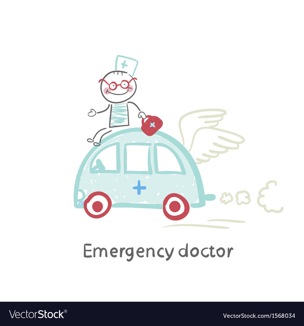 Emergency doctor travels by car vector | Price: 1 Credit (USD $1)