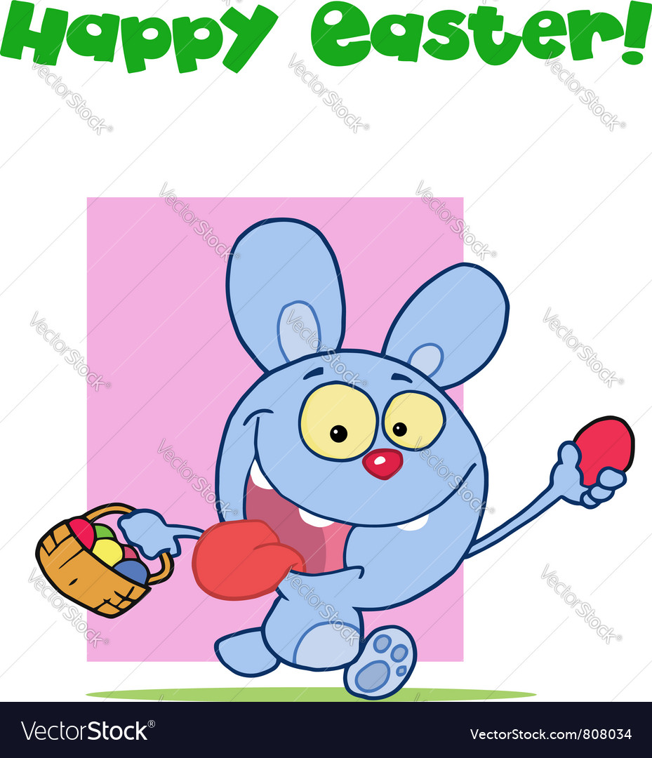 Happy easter greeting above a blue rabbit vector | Price: 1 Credit (USD $1)