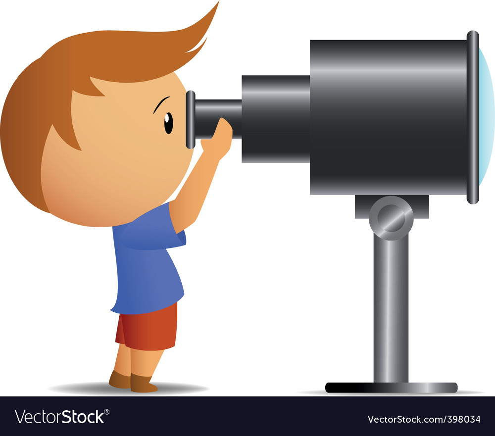 Little boy looking in telescope vector | Price: 1 Credit (USD $1)