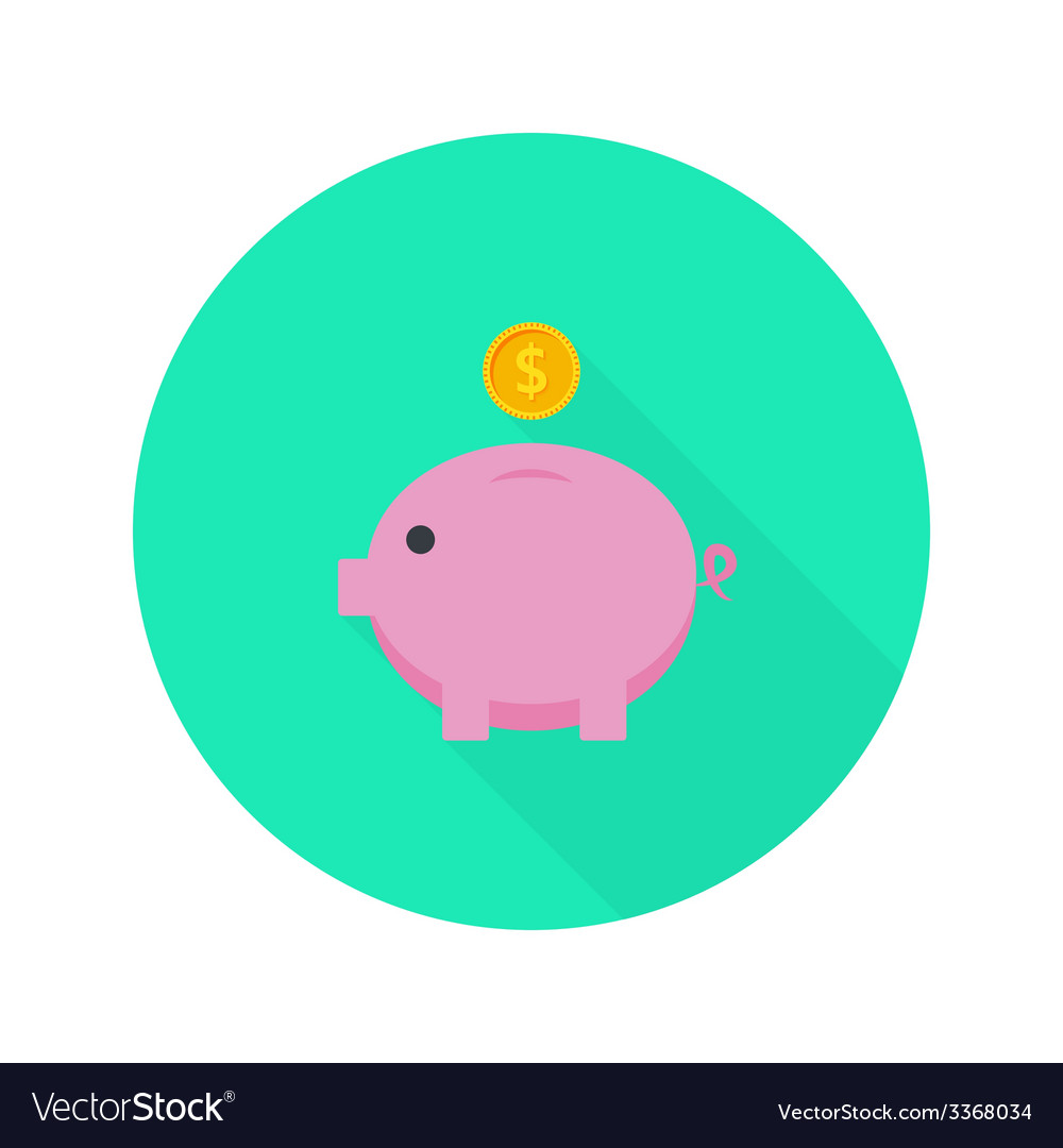Money pig with dollar coin flat icon with long vector | Price: 1 Credit (USD $1)