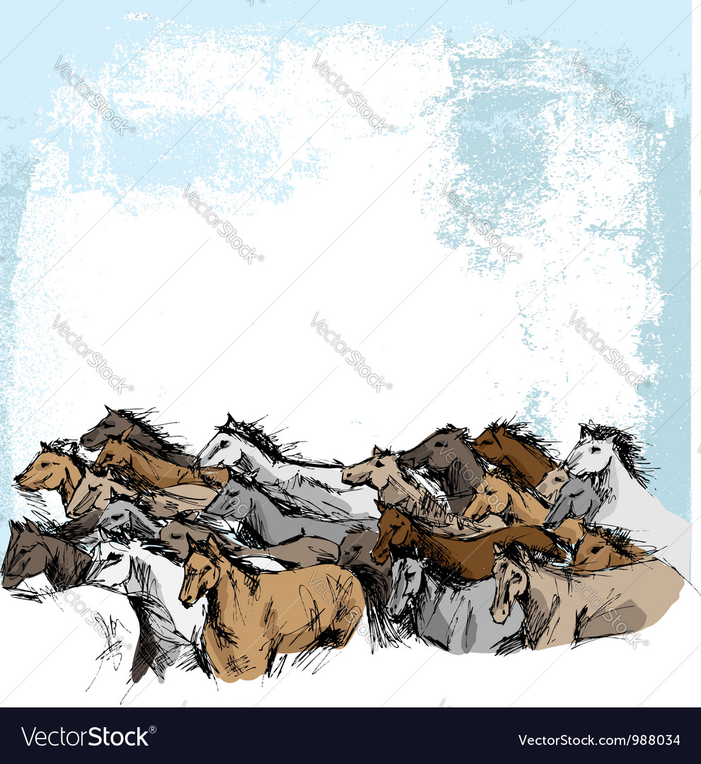 Sketch of white horse running vector | Price: 1 Credit (USD $1)
