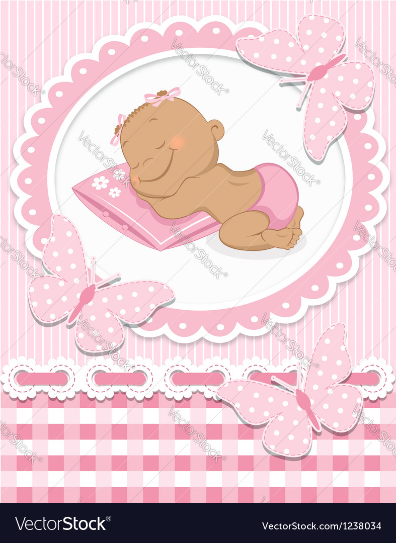 Sleeping african baby girl vector | Price: 3 Credit (USD $3)