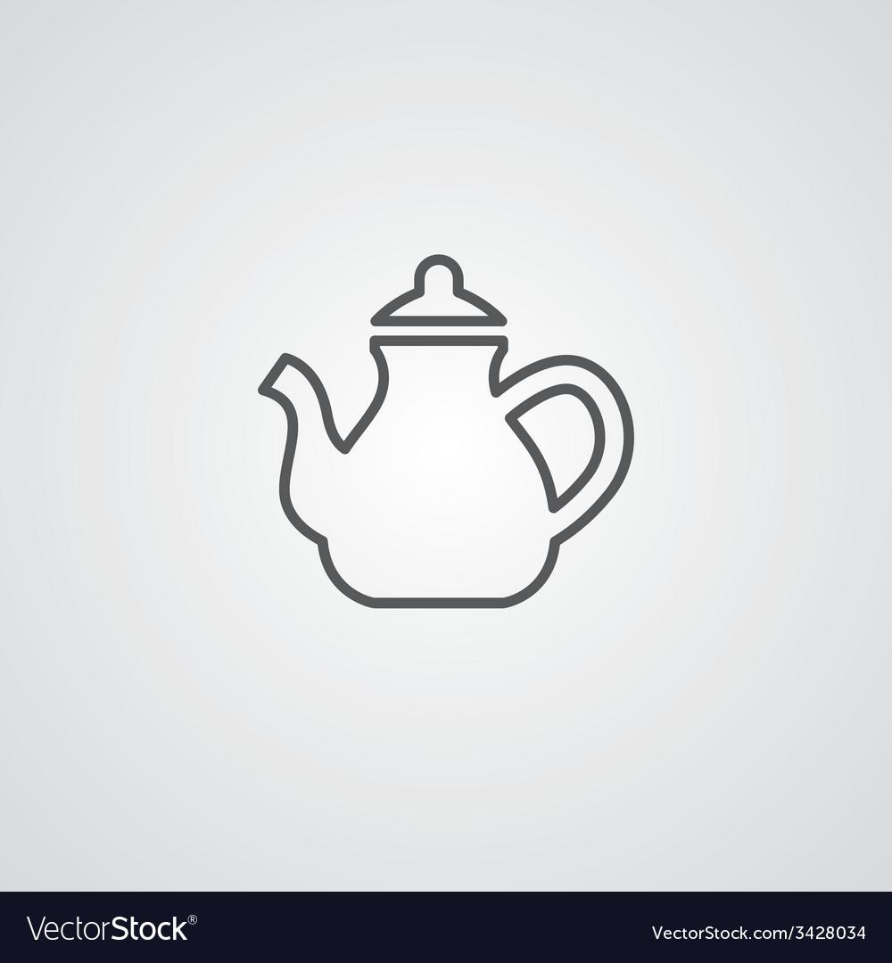 Teapot outline symbol dark on white background vector | Price: 1 Credit (USD $1)