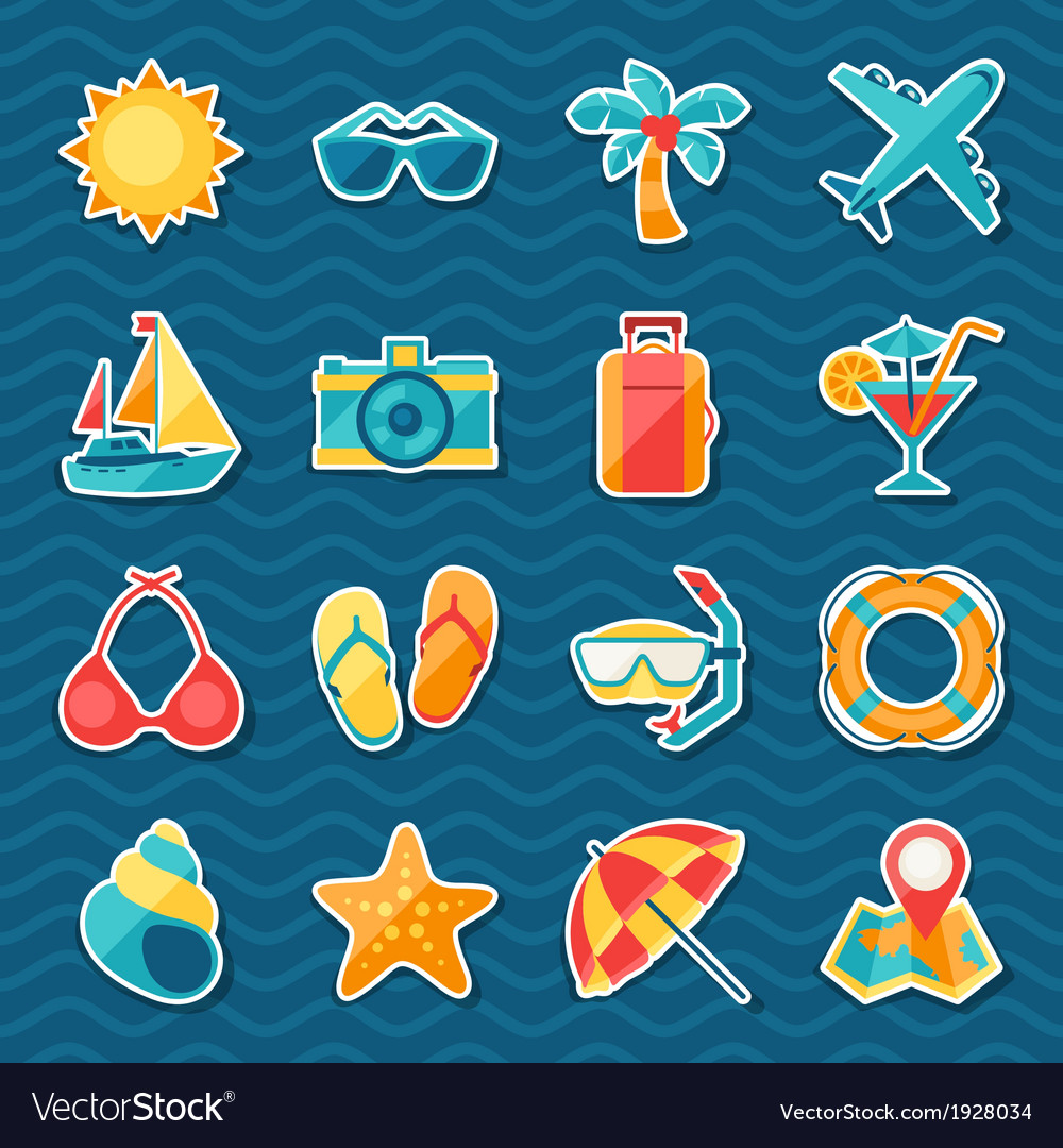 Travel and tourism sticker icon set vector | Price: 1 Credit (USD $1)