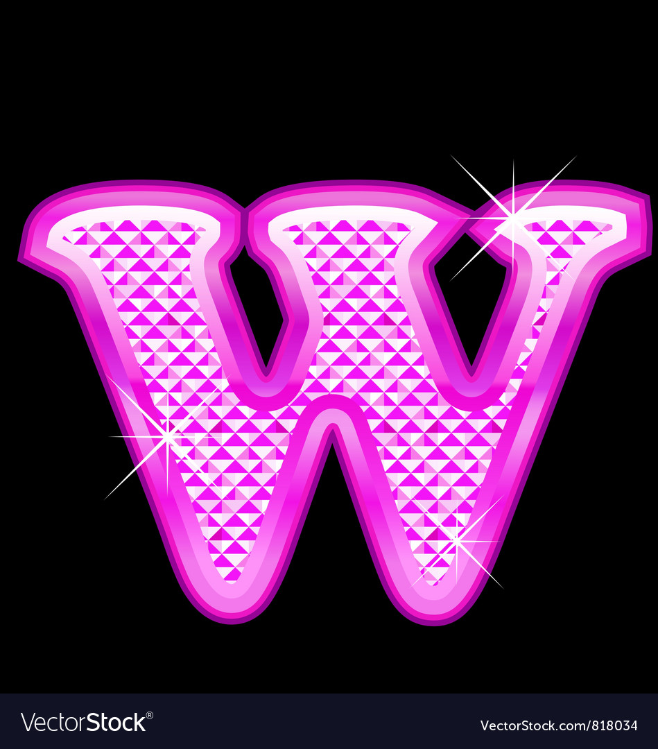 W letter pink bling girly vector | Price: 1 Credit (USD $1)