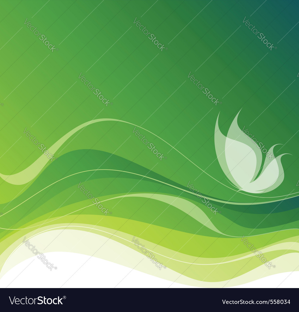 White butterfly on abstract green background ep vector | Price: 1 Credit (USD $1)