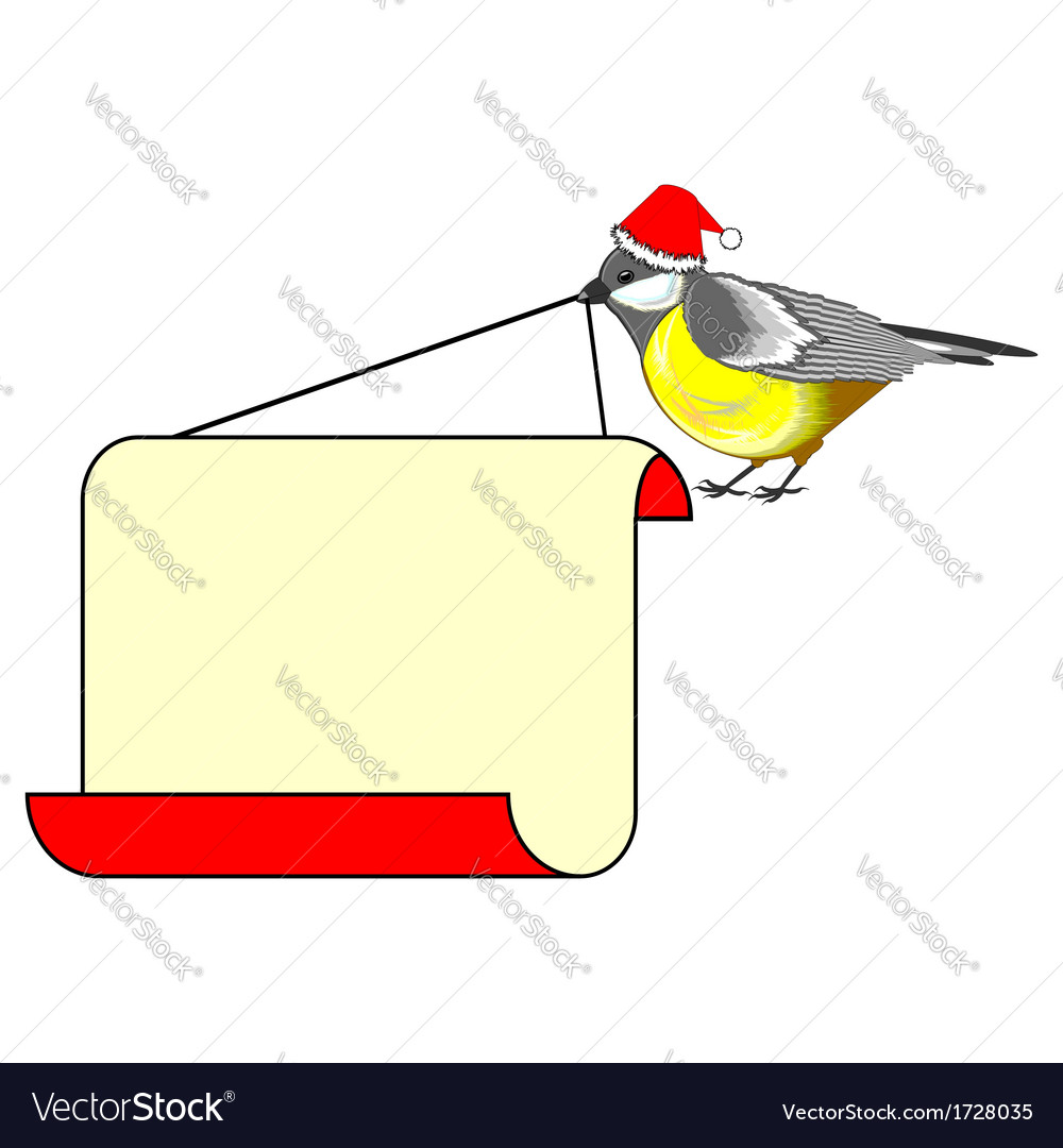 A christmas bird titmouse with a big blank paper vector | Price: 1 Credit (USD $1)