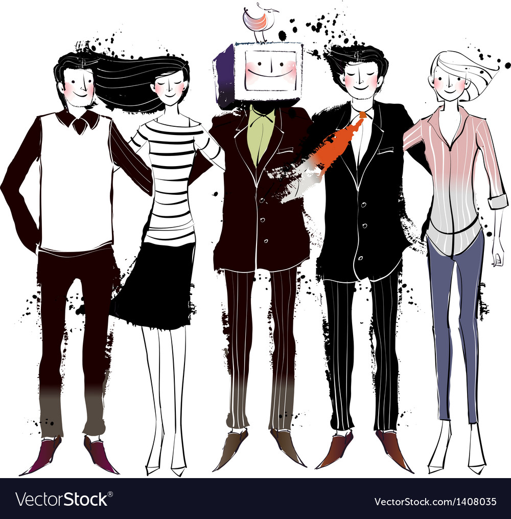 A view of five people vector