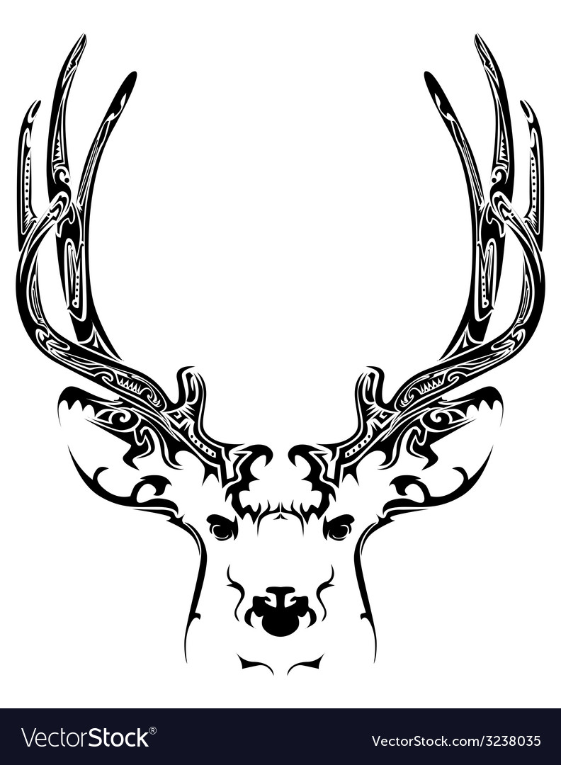 Abstract deer head tribal tattoo vector | Price: 1 Credit (USD $1)