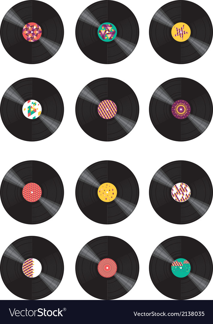 Collection of vinyl records vector | Price: 1 Credit (USD $1)