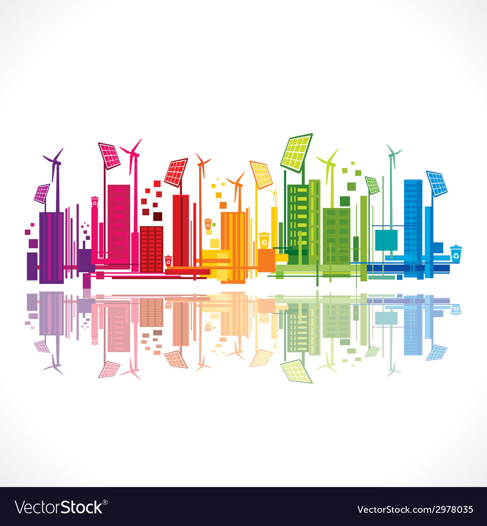 Colorful ecology or renewable energy city vector | Price: 1 Credit (USD $1)