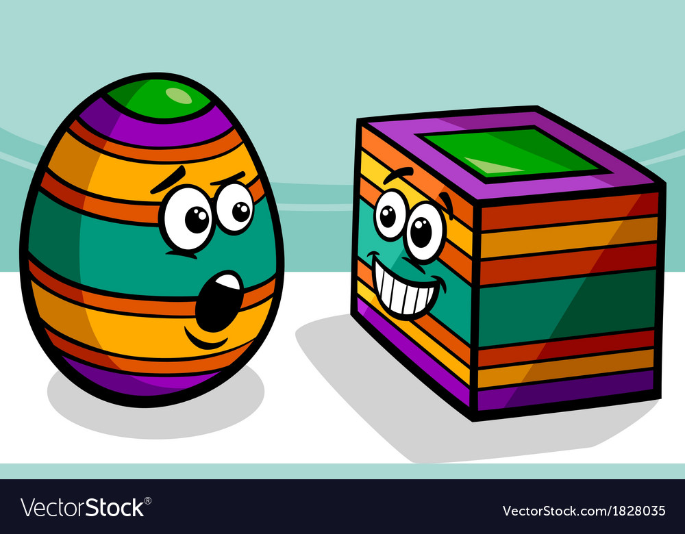 Easter square egg cartoon vector | Price: 1 Credit (USD $1)
