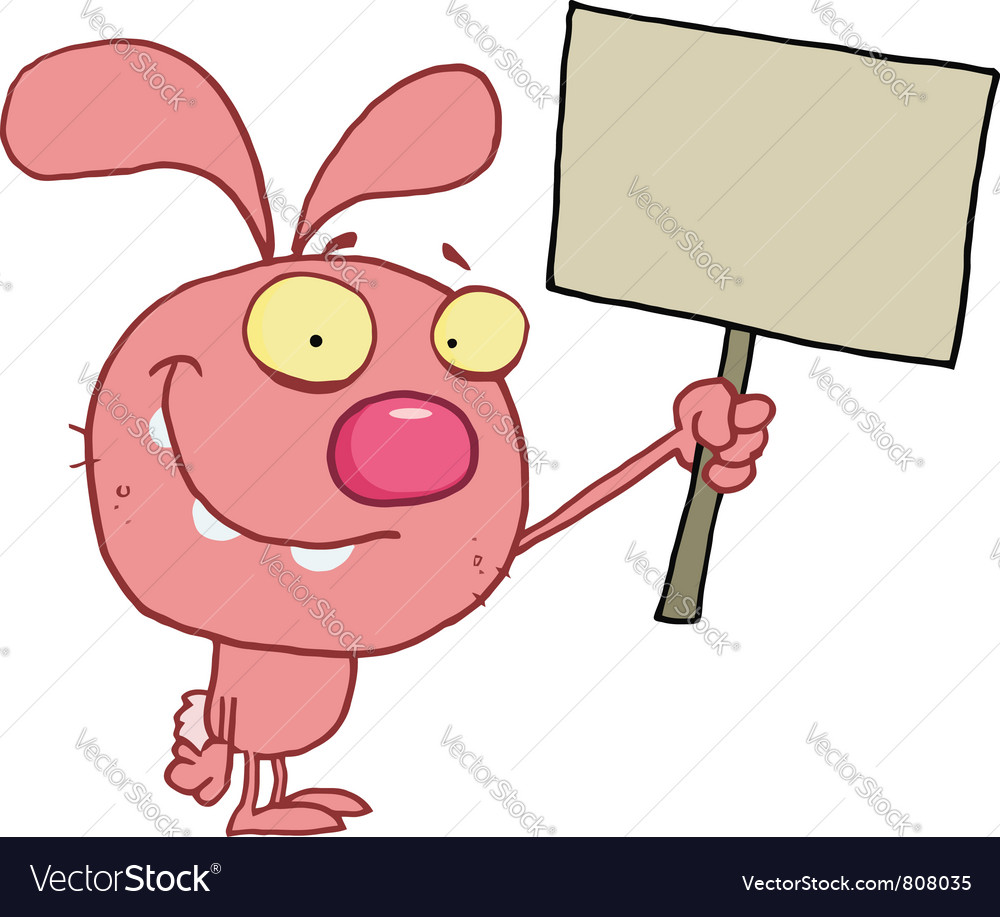 Pink bunny rabbit holding up a blank sign vector | Price: 1 Credit (USD $1)
