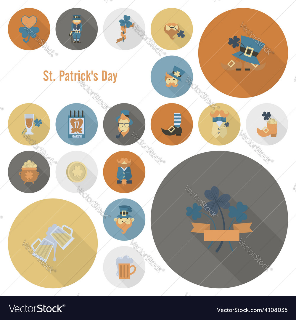Saint patricks day icon set vector | Price: 1 Credit (USD $1)