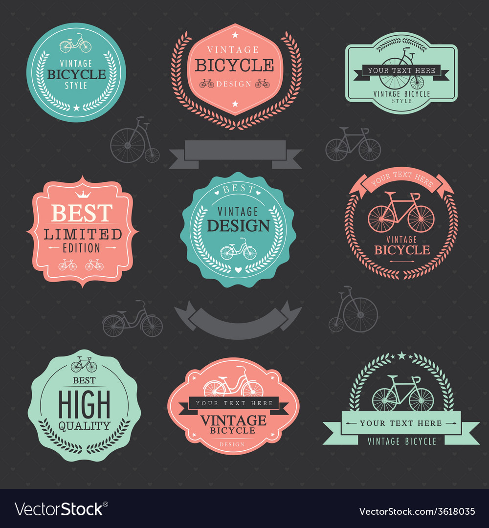 Set of vintage bicycle badge labels vector | Price: 1 Credit (USD $1)