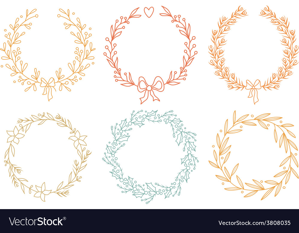 Set of winter wreaths vector | Price: 1 Credit (USD $1)