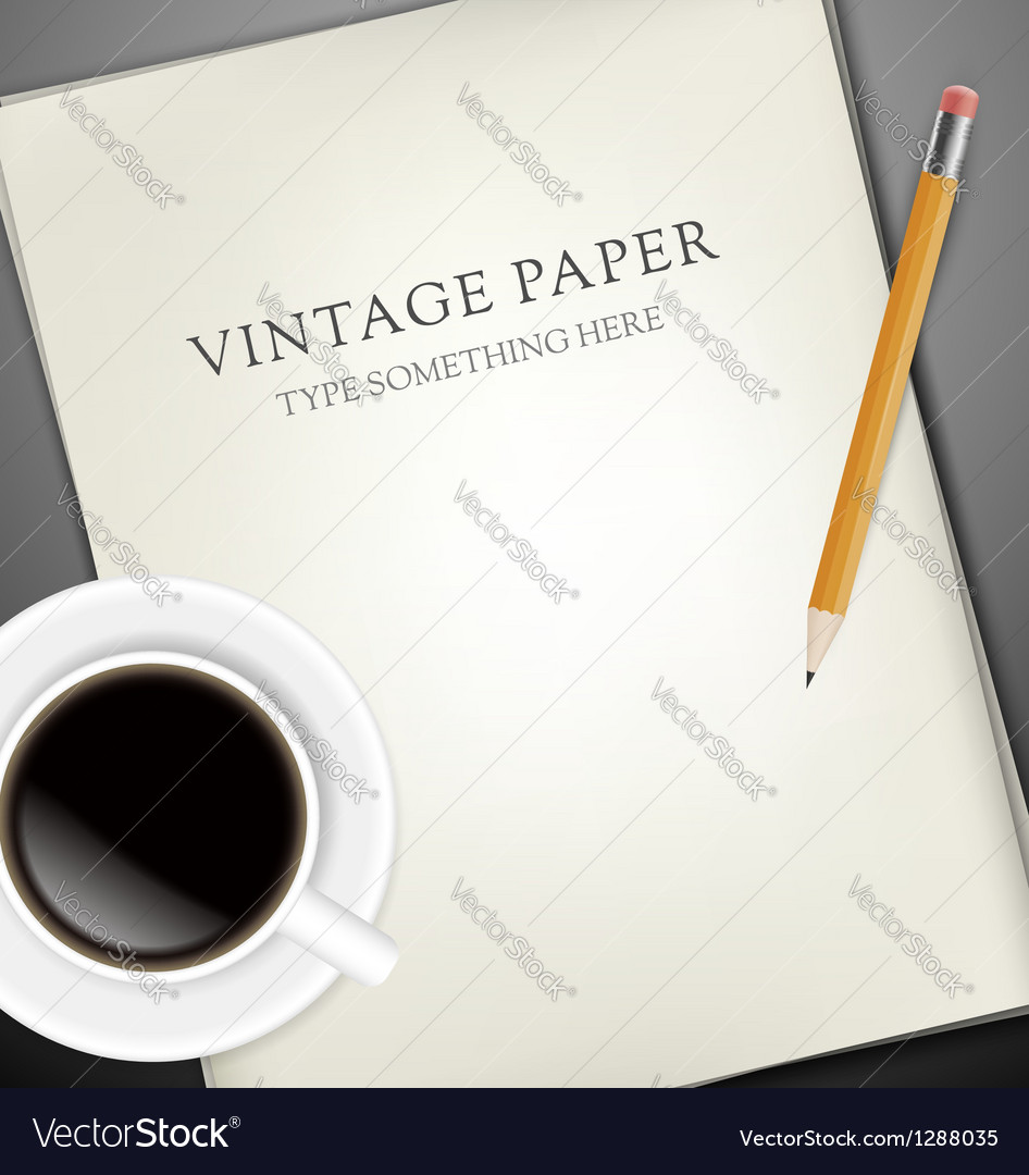 Sheets of paper pecin and cup of coffee vector | Price: 1 Credit (USD $1)