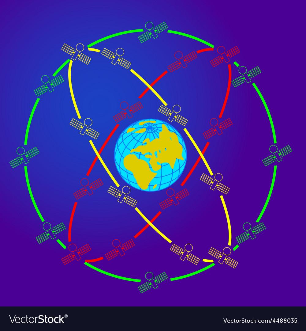 Space satellites in eccentric orbits around the vector