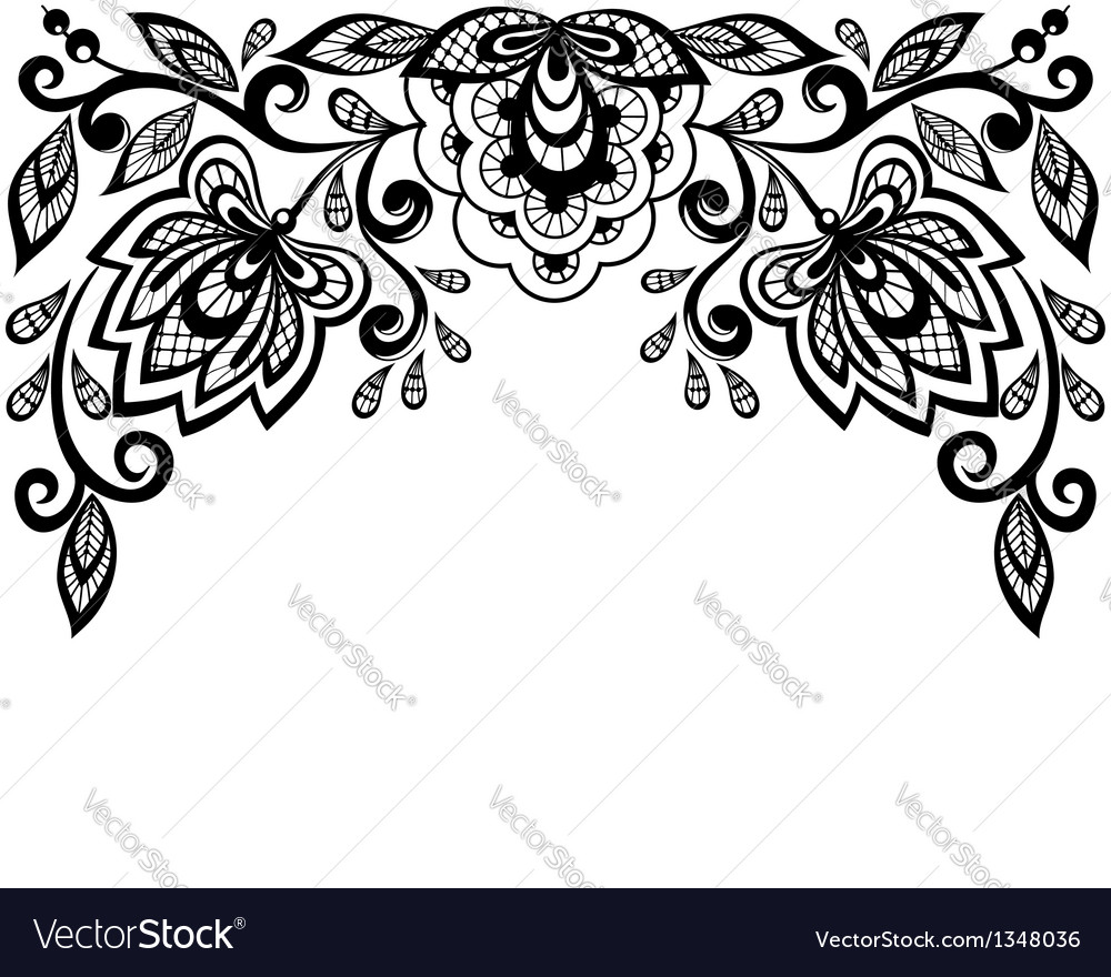 Black and white lace flowers and leaves isolated o vector | Price: 1 Credit (USD $1)