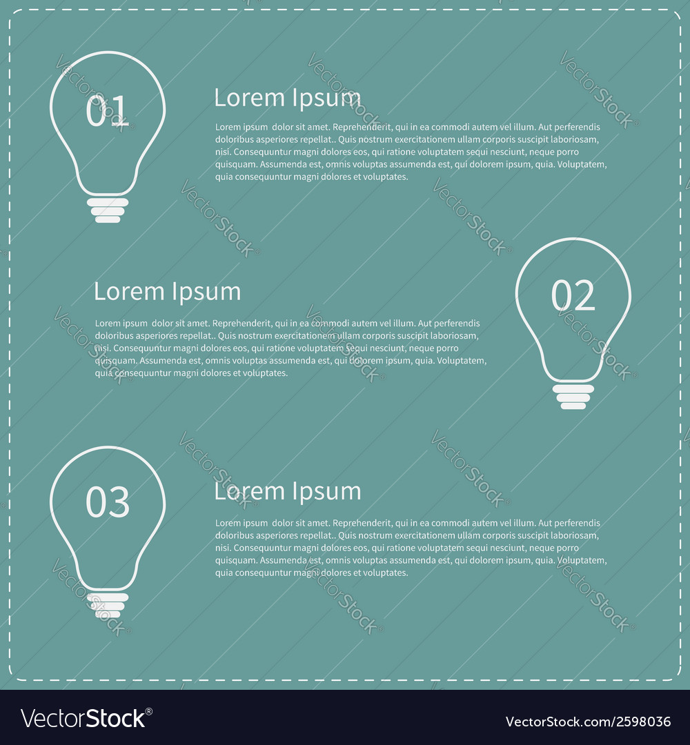 Business infographic with contour white light bulb vector | Price: 1 Credit (USD $1)