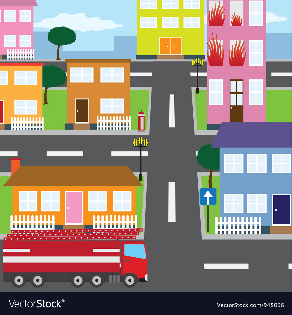 The fire in the city vector | Price: 1 Credit (USD $1)