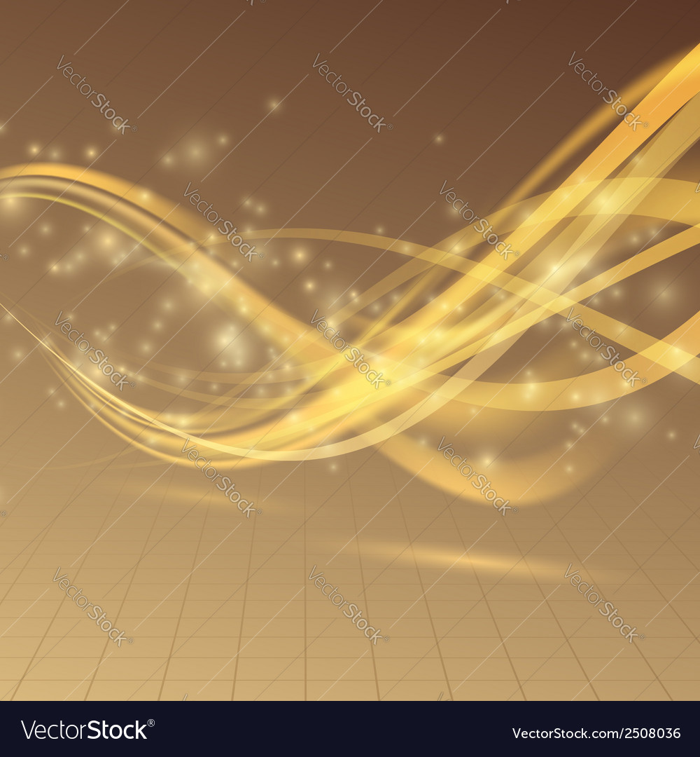 Golden bright shimmering energy wave lines vector | Price: 1 Credit (USD $1)