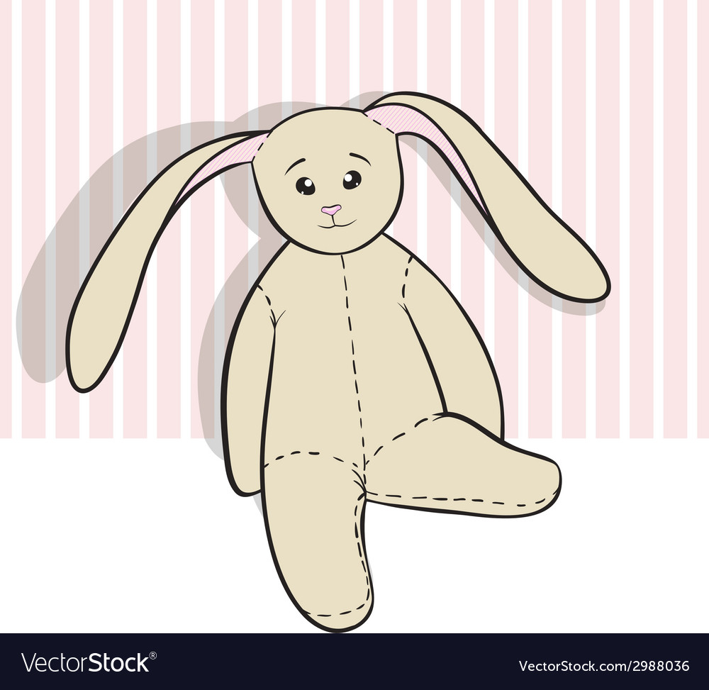 Hand drawing rag bunny sitting isolated vector | Price: 1 Credit (USD $1)